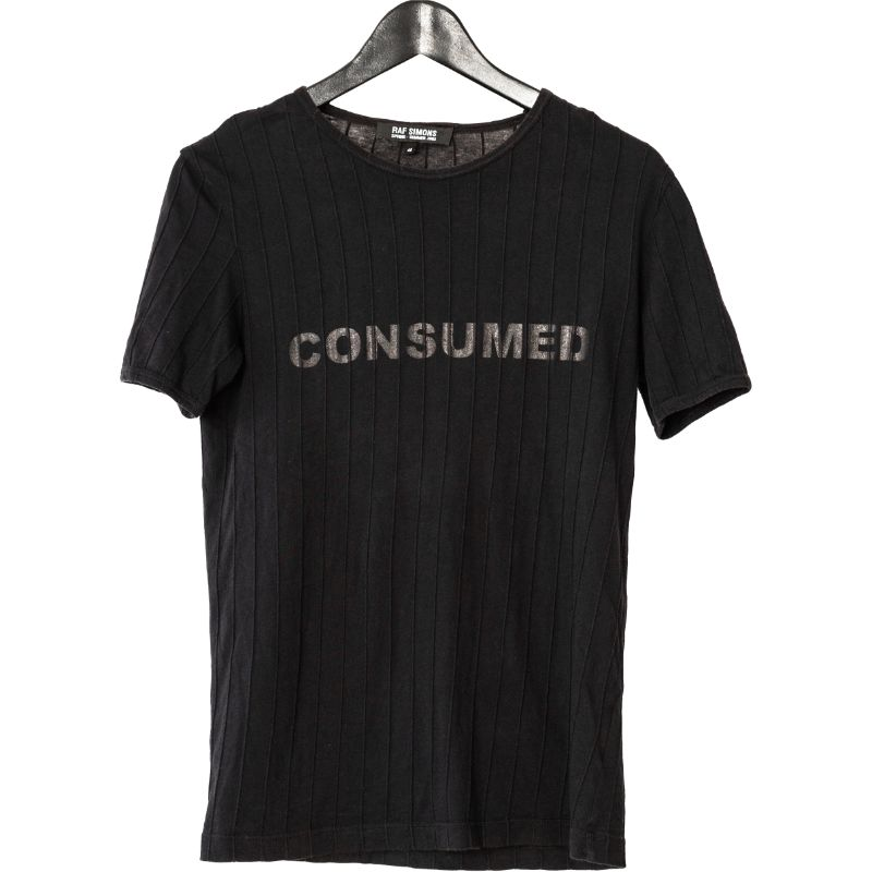 Raf Simons SS03 Consumed Black On Black Print Tee