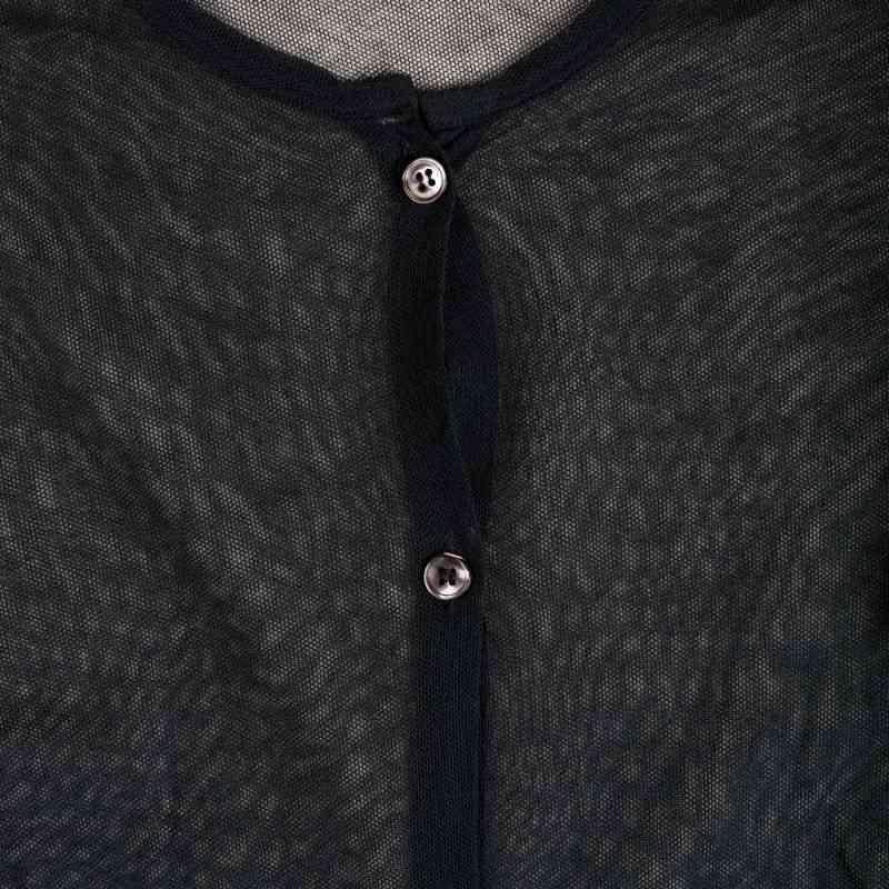 Helmut Lang 1998 Transparent Mesh Cut-out Elbow Button-up
