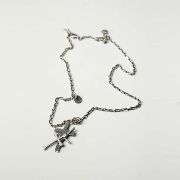 Undercover AW02 Silver Triple Cross Necklace